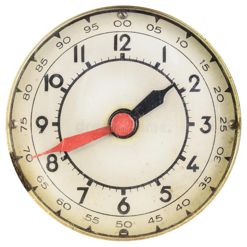 Vintage clock face with red and black hands stock images