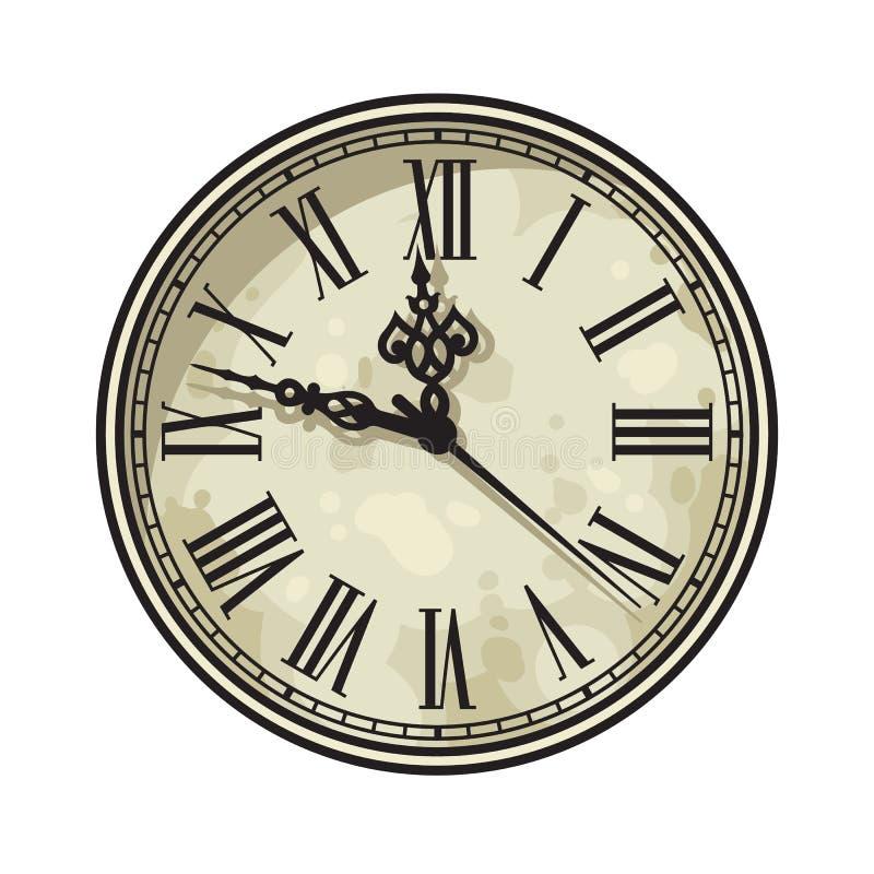 Vintage clock face with Roman numerals. Vector illustration. stock illustration