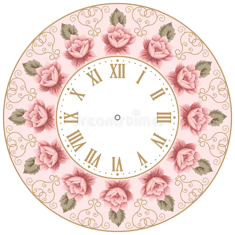 Vintage Clock Face With Roses Stock Vector Illustration