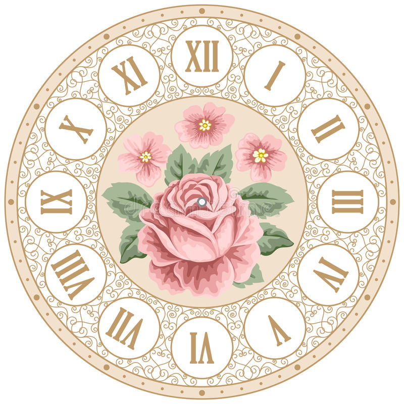 Vintage clock face with roses stock illustration