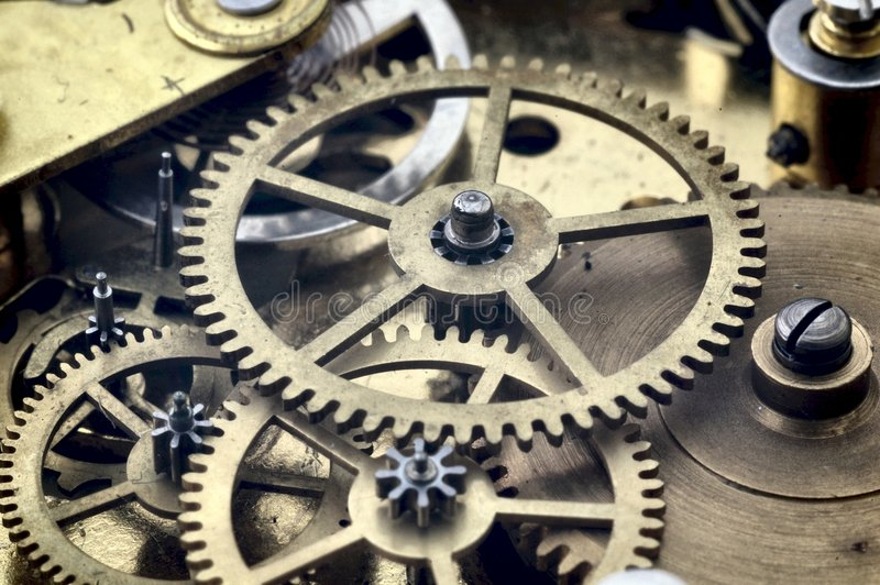 Vintage clock mechanism stock image