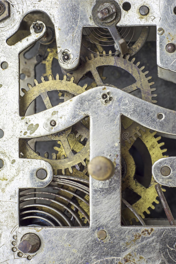 Vintage clock mechanism stock photos
