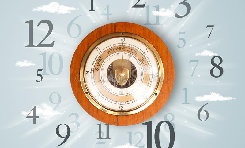 Vintage clock with numbers on the side. Vintage clock with numbers comming out on the side stock image