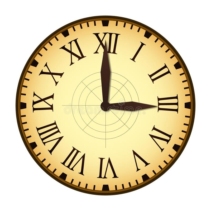 Simple Vintage Clock with Roman Letters as Numbers on the Clockface stock photography