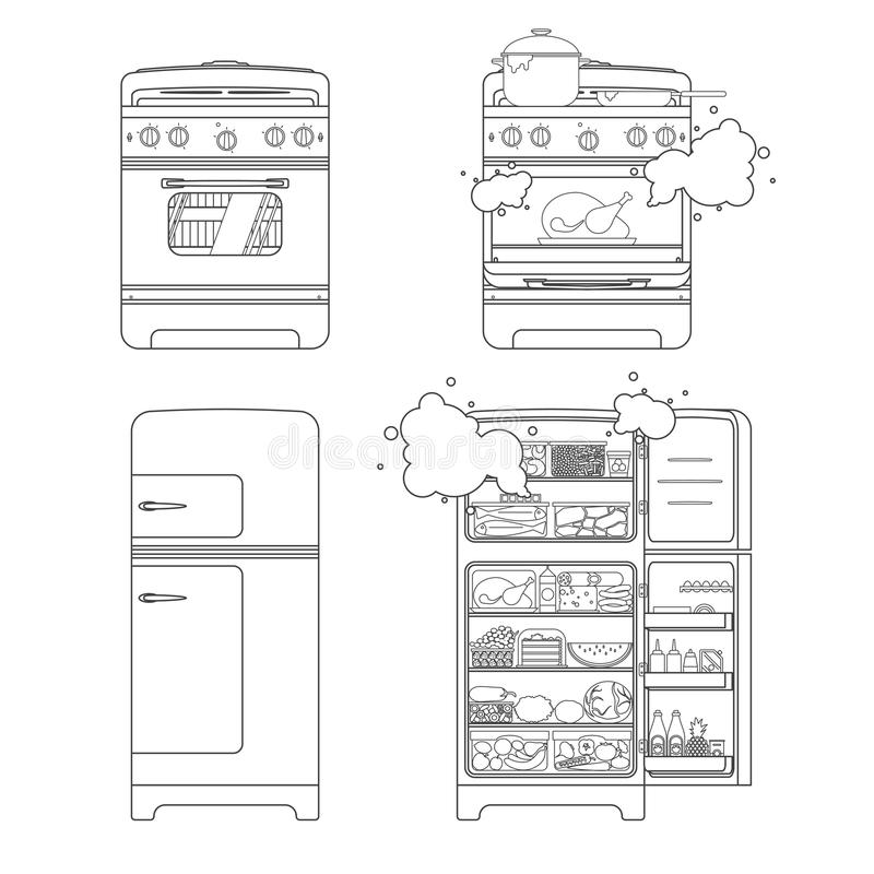 Vintage Closed and Opened Gas Stove With Preparing Meal And Refrigerator Full Of Food. royalty free illustration