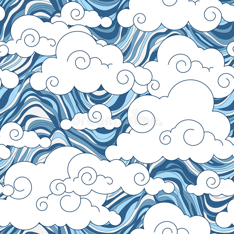 Vintage cloud Chinese seamless pattern stock illustration