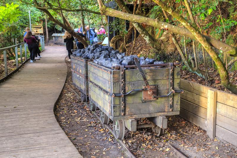 Old wooden mining carts full of coal, Australia royalty free stock images