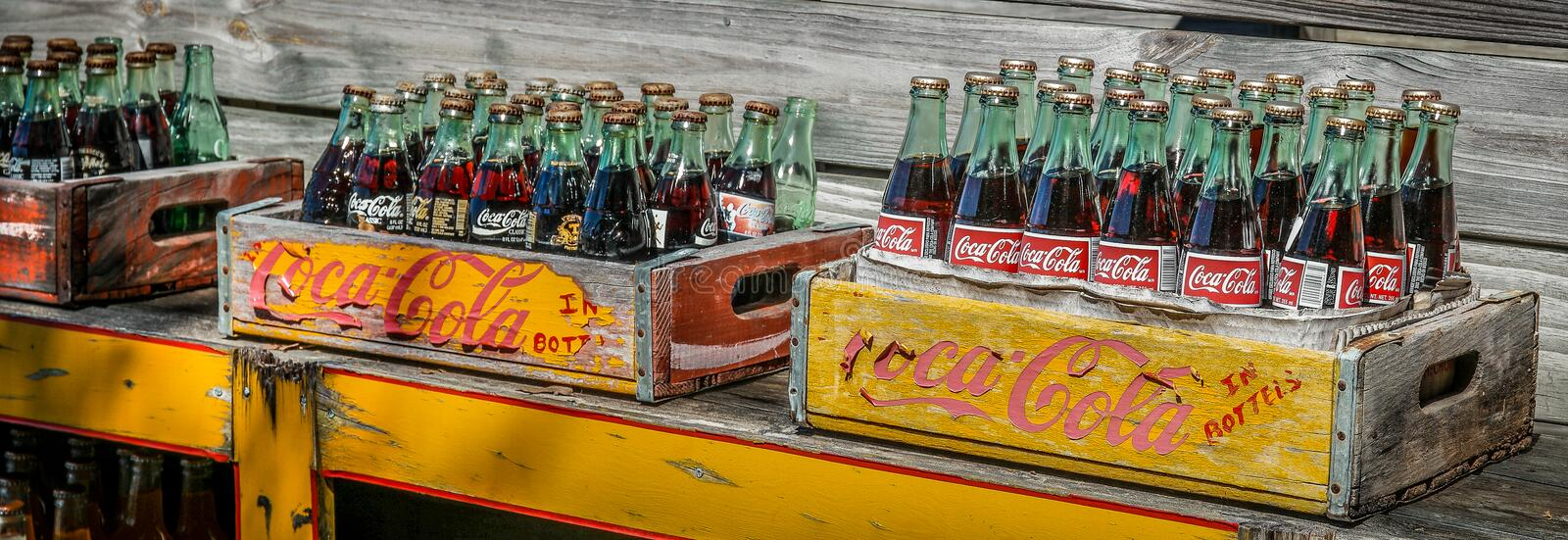 Vintage Coca Cola bottles stock photography