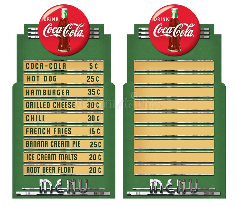 Vintage Coca Cola Diner Menu Fountain. Vintage Coca Cola Diner Menu restaurant Coke Hot Dog Hamburger French Fries Americana 1950s 1940s 30s 1930s retro royalty free stock image