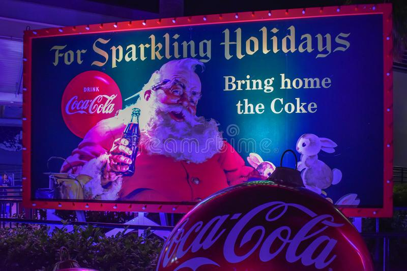 Vintage Coca Cola sign on Christmas Celebration at Seaworld 1 royalty free stock photo