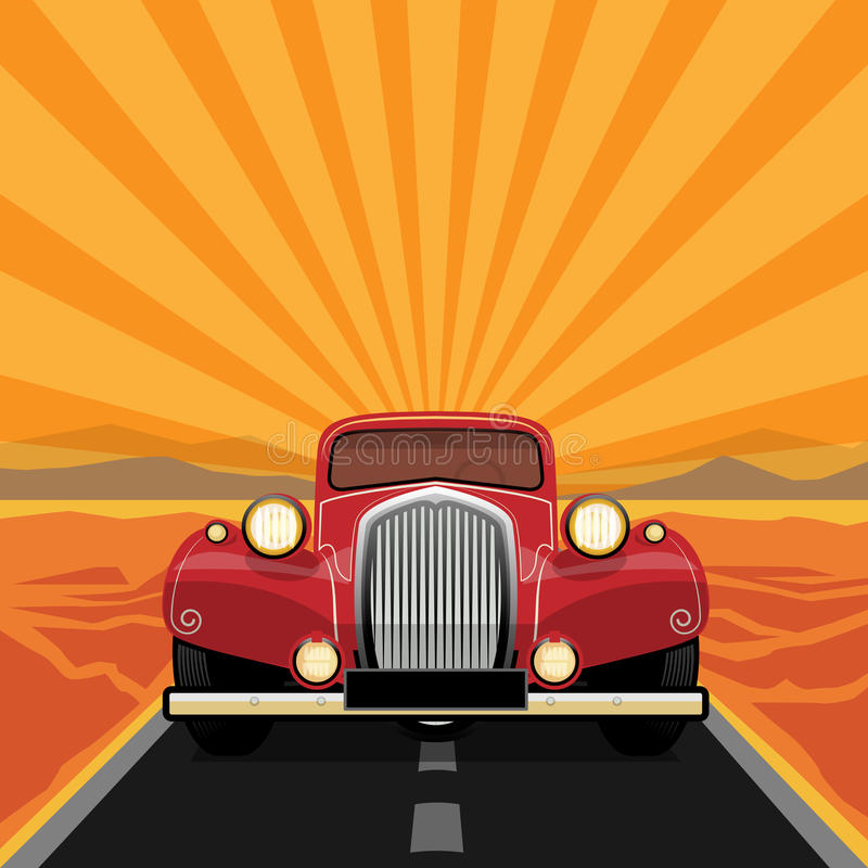Vintage, coche retro libre illustration