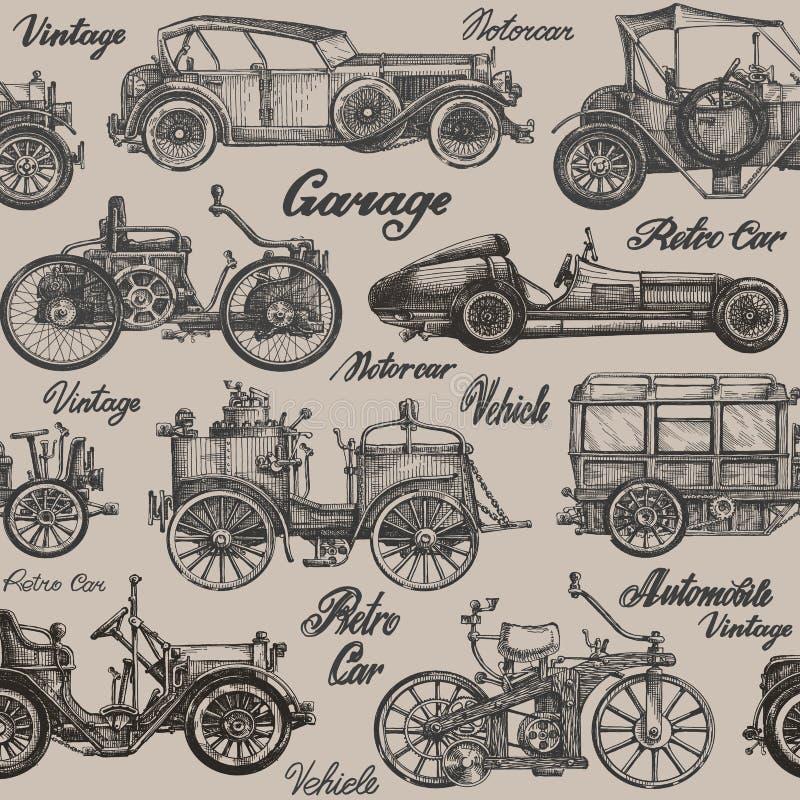 Vintage, coches retros Fondo bandera, cartel ilustración del vector