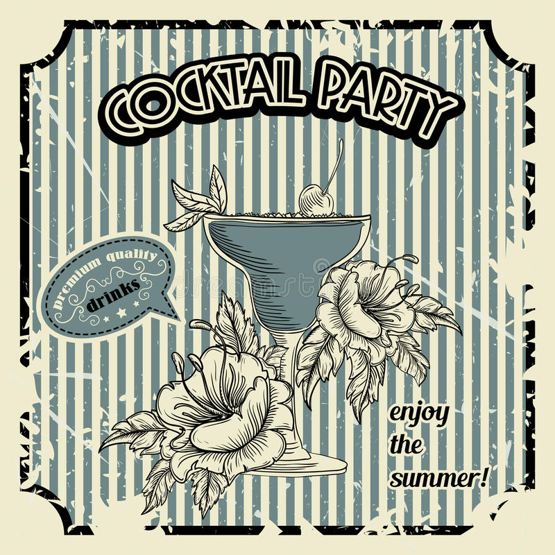 Vintage cocktail party poster with cocktail, tropic flowers and typography elements. Retro banner or invitation card. vector illustration