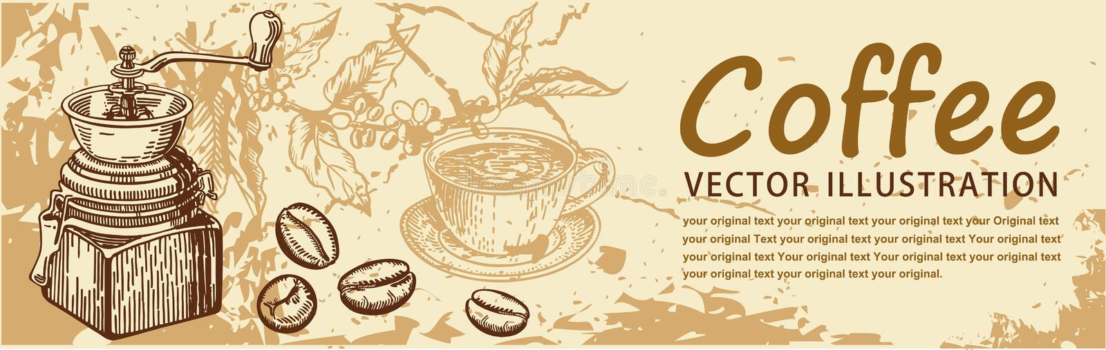 Vintage coffee backgrounds. Menu for restaurant, cafe, bar, coffeehouse stock illustration