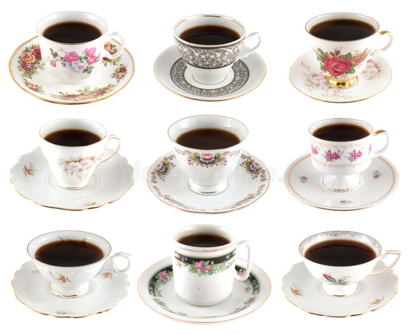 Vintage coffee cups royalty free stock photography