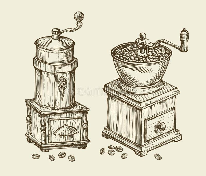 vintage coffee grinder hand drawn sketch hot drink retro object vector illustration stock. Black Bedroom Furniture Sets. Home Design Ideas