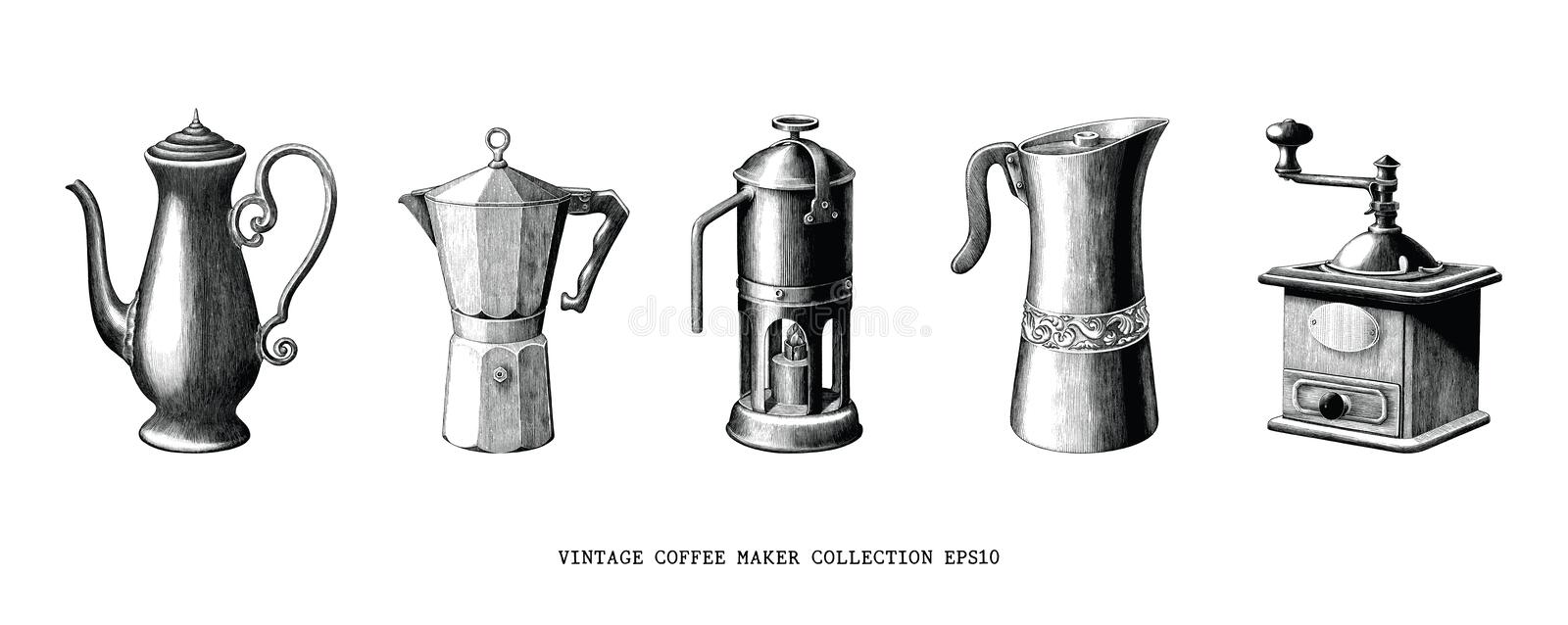 Vintage coffee maker collection hand draw black and white clip art isolated on white background. Collection set of coffee shop royalty free illustration