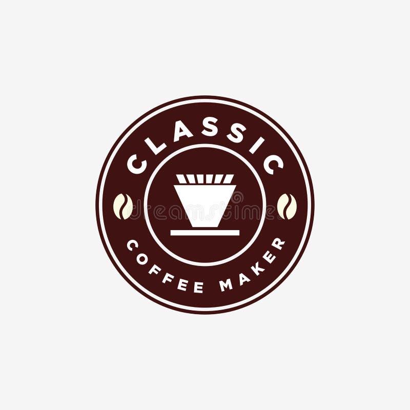Vintage Coffee Maker V60 Manual Brew Emblem Logo Design Template royalty free stock photos