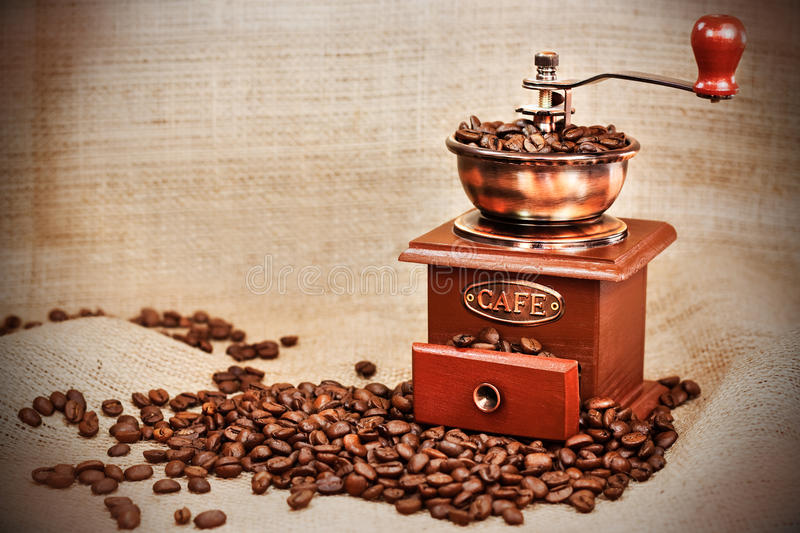 Vintage coffee mill stock images