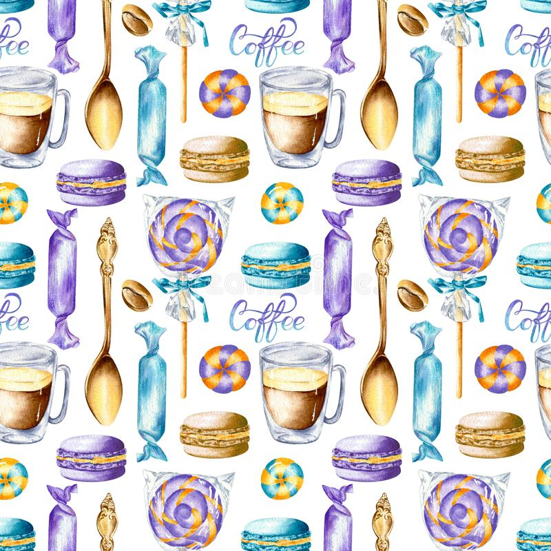 Vintage coffee ornament with organic texture in gold, brown, violet and blue colors vector illustration
