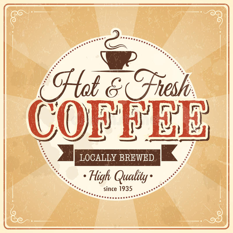 Vintage coffee poster with grunge effects royalty free illustration