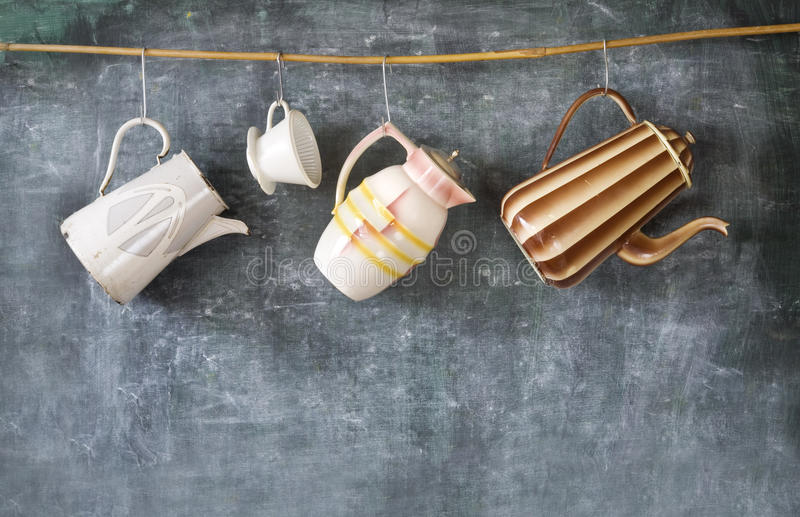 Vintage coffee pots. And old coffee filter, free copy space royalty free stock photo