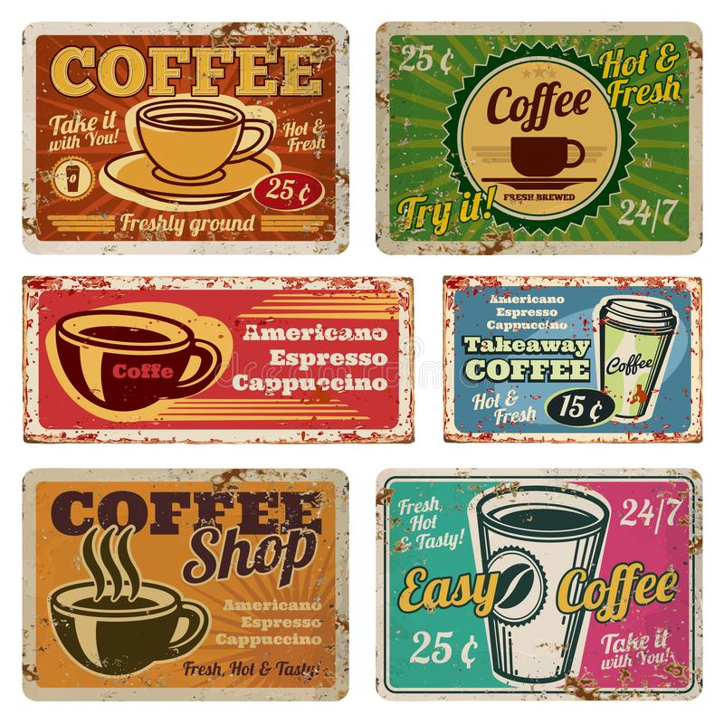 Vintage coffee shop and cafe metal vector signs in old 1940s style royalty free illustration