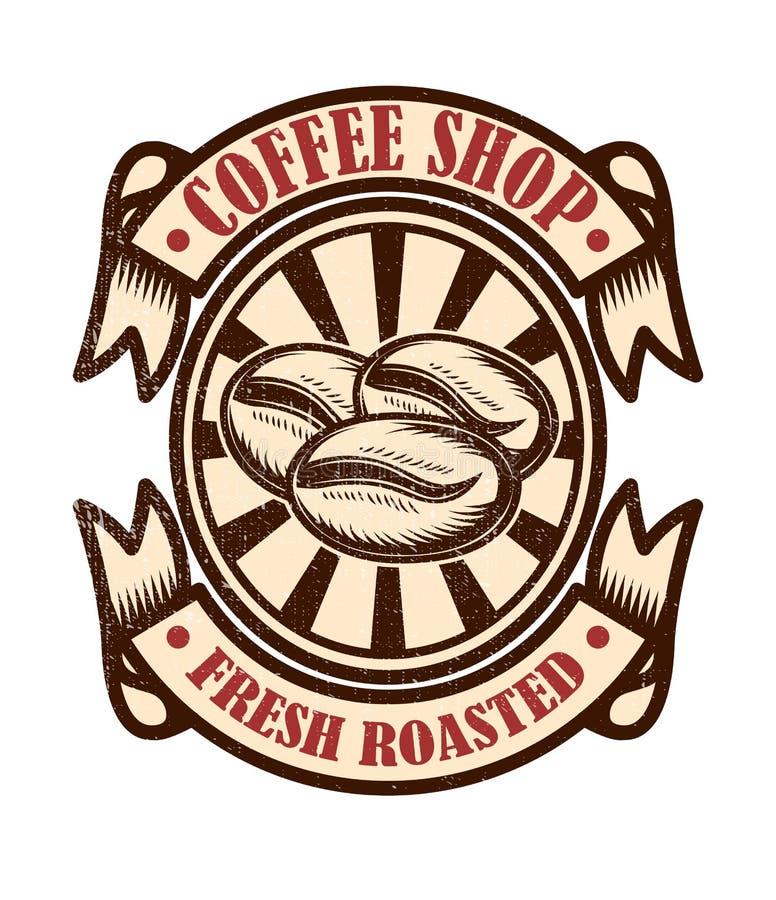Vintage coffee shop emblem. Design elements for logo, label, sign, badge stock illustration