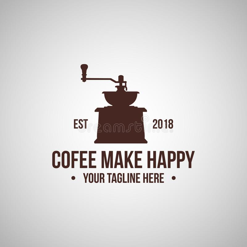 Vintage Coffee shop logo vector illustration design. Retor coffee desi9gn logo emblem stock illustration