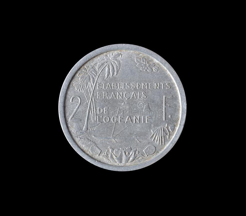 Vintage coin made by French Oceania stock photo