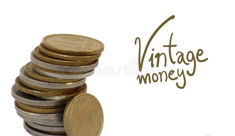 Vintage coins detail. Creative designn of vintage coins detail royalty free stock photos