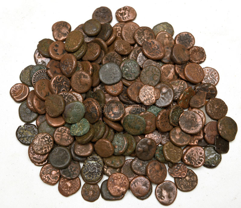 VINTAGE COINS. Old indian vintage coins on display royalty free stock image