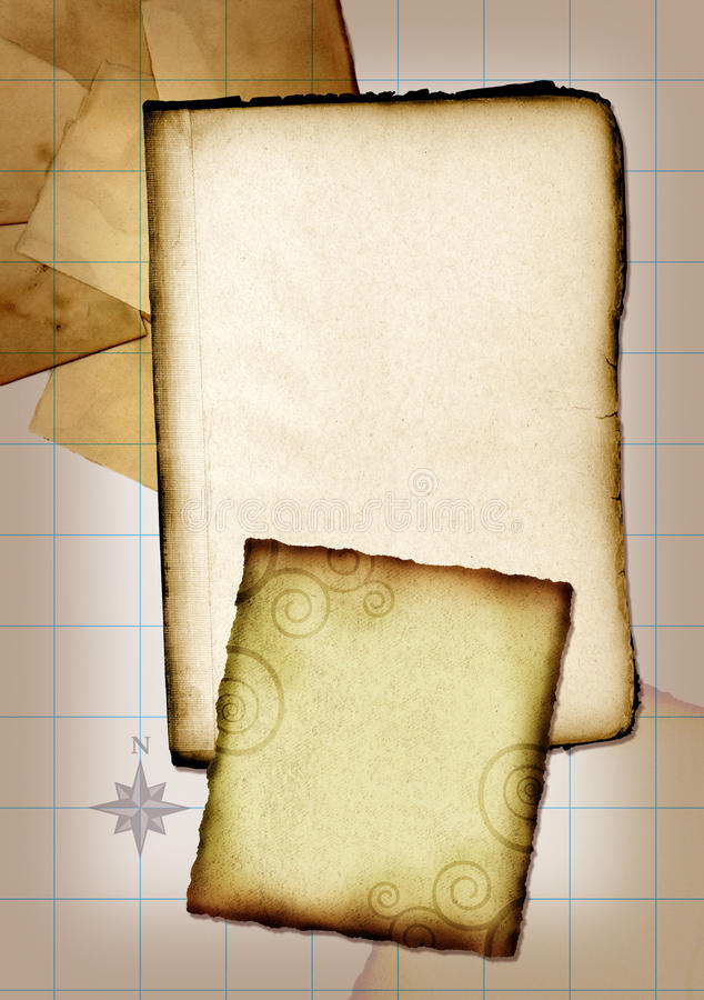 Vintage Collage. A vintage collage with scraps of paper and a grid background royalty free stock photo