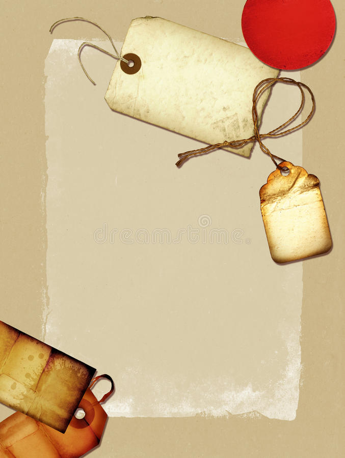 Vintage Collage. A vintage paper collage with old tags and scraps of paper vector illustration