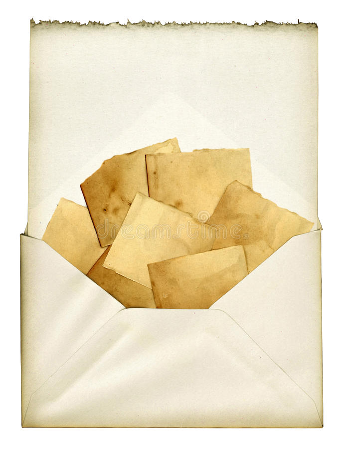 Vintage Collage. A vintage envelope with pieces of old paper stock images