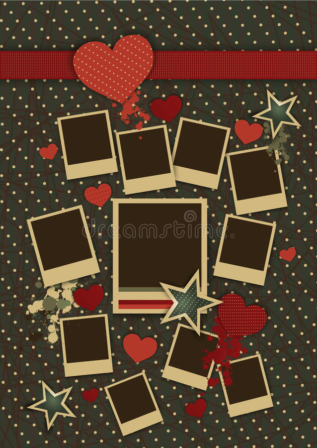 Vintage Collage Of Vector Photo Frames With Hearts Stock Vector ...