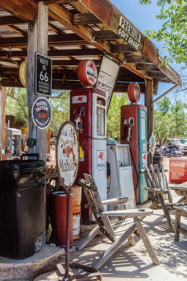 Vintage collectibles at Hackberry's General Store. Hackberry, Arizona, USA - June 11th 2014. Vintage collectibles at Hackberry's General Store. Hackberry is royalty free stock photo