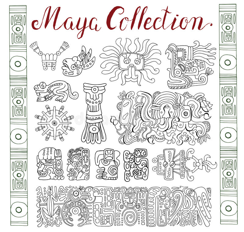 Vintage collection with hand drawn maya and aztec patterns and symbols. Vintage collection with graphic maya, inca and aztec zodiac ornaments and symbols in old royalty free illustration