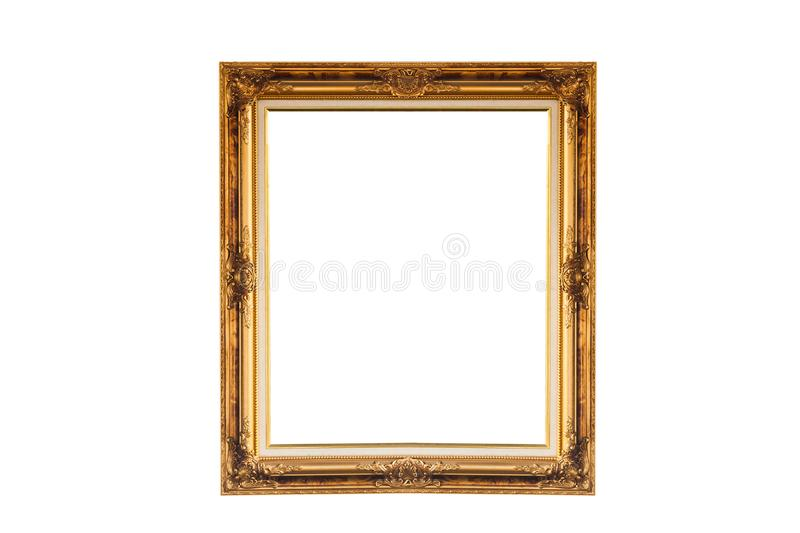 Vintage color golden picture frame. On white background stock image