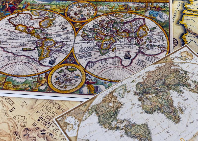 Vintage color maps of the world royalty free stock images