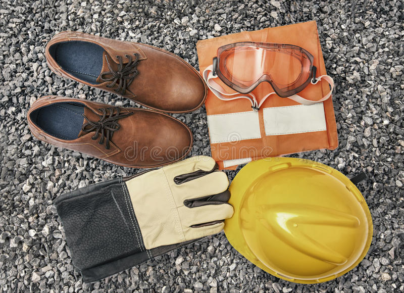 Vintage color of Personal Protection Equipment on Granite gravel. Personal Protection Equipment on Granite gravel stock images