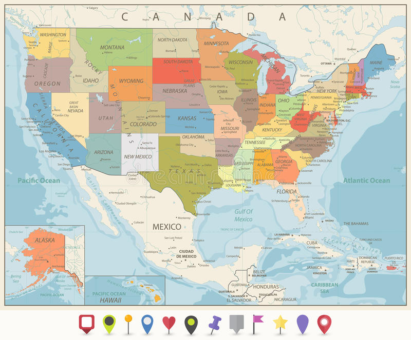 Vintage Color Political Map of USA and Flat Map Pointers. With water objects, cities and capitals vector illustration
