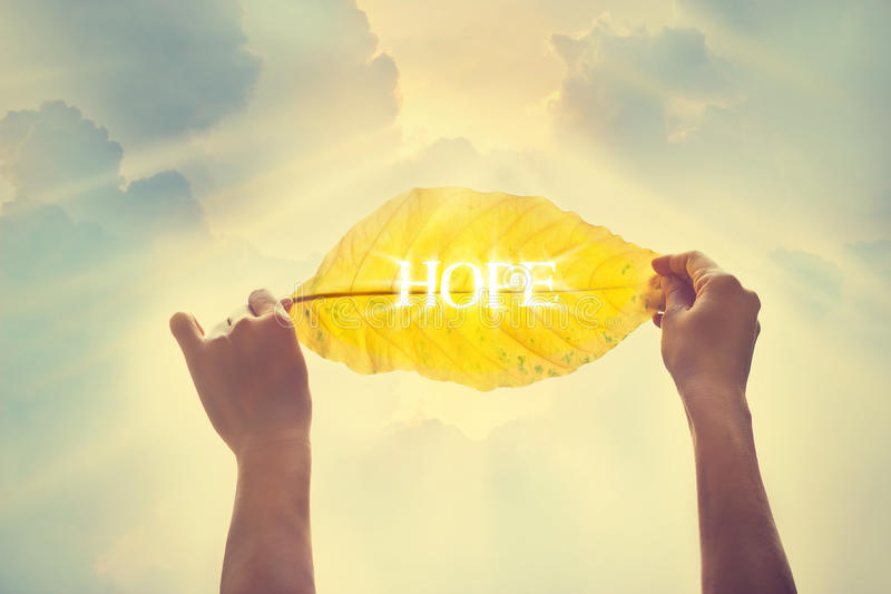 Vintage color tone, holding a yellow leaf in the sky of hope. Soft focus stock images