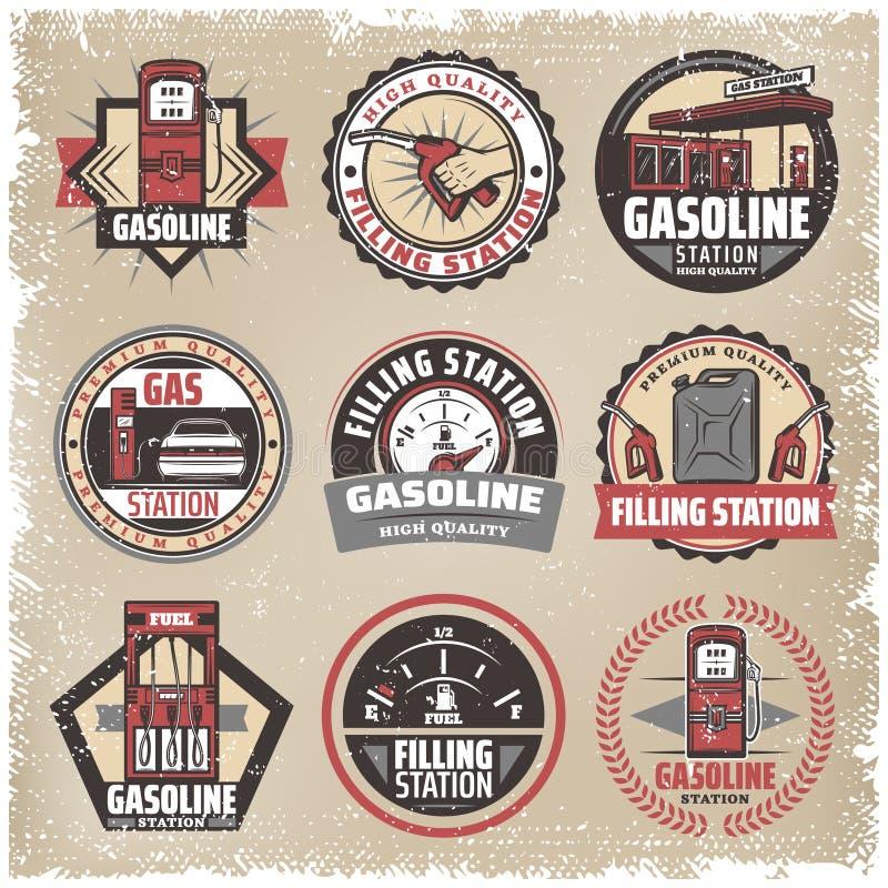 Vintage Colored Filling Station Labels Set stock illustration