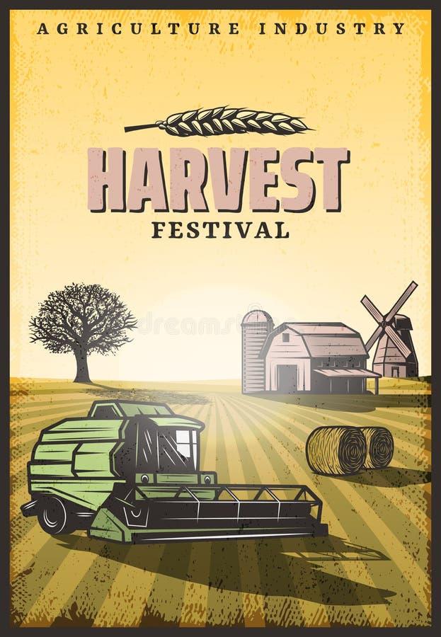 Vintage Colored Harvesting Poster stock illustration