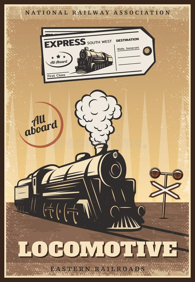 Vintage Colored Industrial Retro Train Poster royalty free illustration