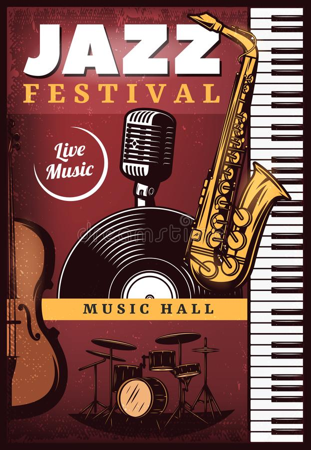 Vintage Colored Jazz Music Poster royalty free illustration