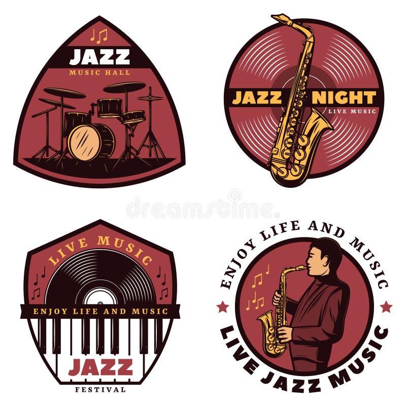 Vintage Colored Live Jazz Music Emblems stock illustration