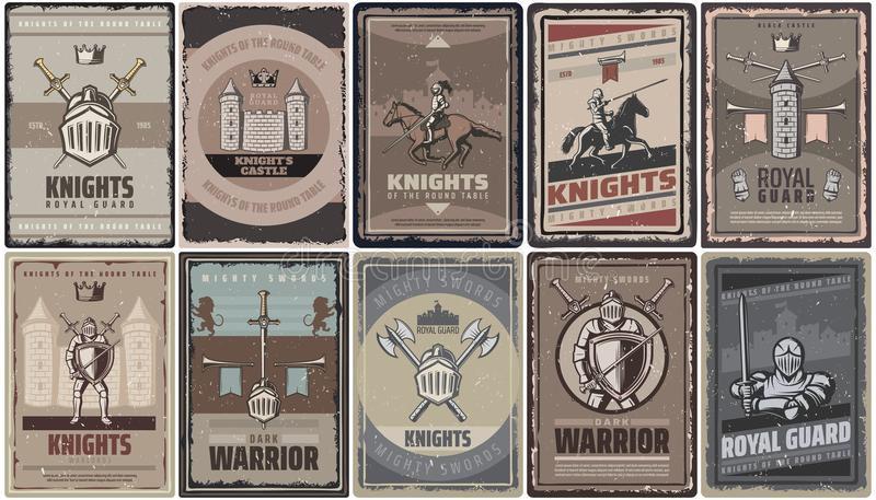 Vintage Colored Medieval Knights Posters. With warriors swords helmet castle fortress axes tower trumpets isolated vector illustration vector illustration