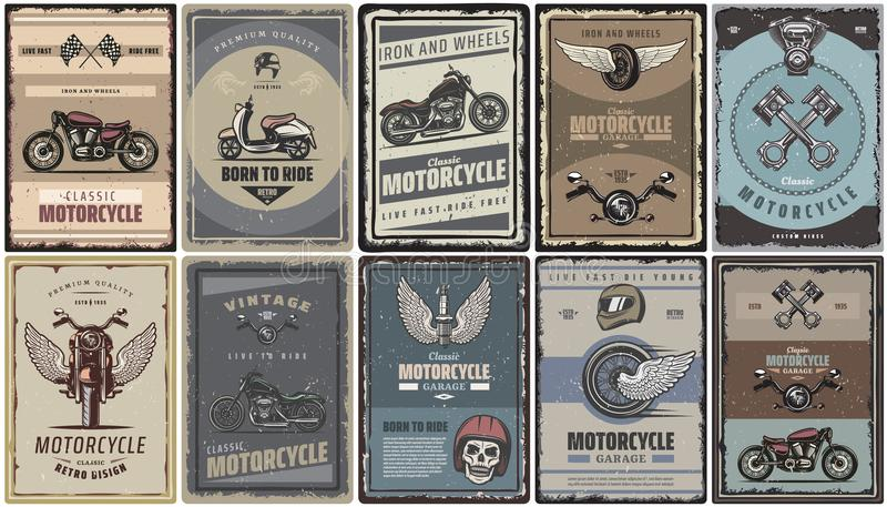 Vintage Colored Motorcycle Posters Set royalty free illustration